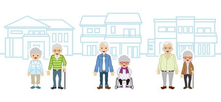 senior couple: Three Senior couple and houses Illustration