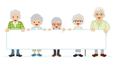 message board: Elderly people holding blank message board