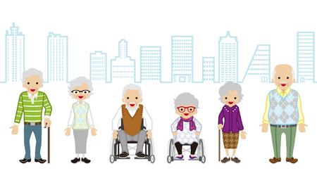 Plusieurs personnes âgées - fond Cityscape Vecteurs