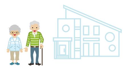 senior couple: House and Senior couple -  Walking Cane