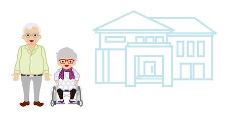 senior couple: House and Senior couple - Wheelchair