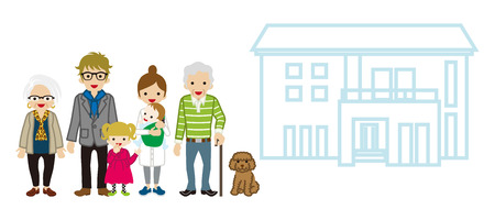 Multi-Generation Family with House - Cane Grandpa Illustration