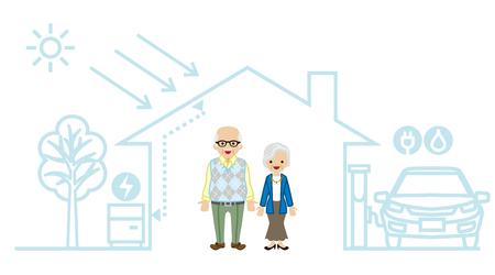 senior couple: Senior Couple in the Futuristic House Illustration