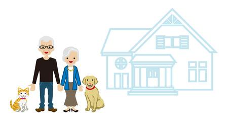 senior couple: House and Senior couple - Pets