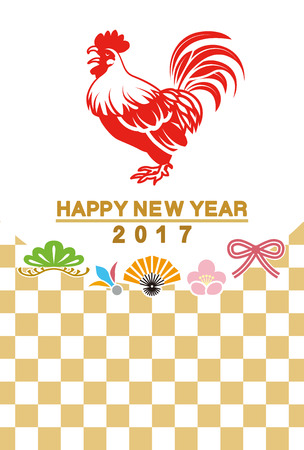 japanese new year: Japanese New Year card 2017 - Rooster and traditional icon