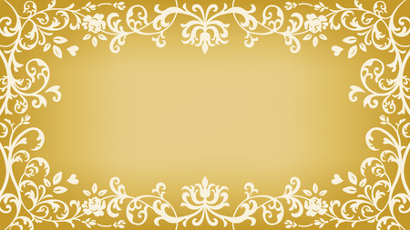 Floral plants Frame - Golden color