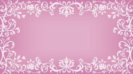 花植物フレーム - ピンク色  イラスト・ベクター素材