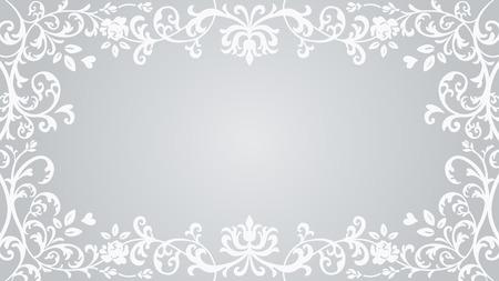 Floral plants Frame - Silver color  イラスト・ベクター素材