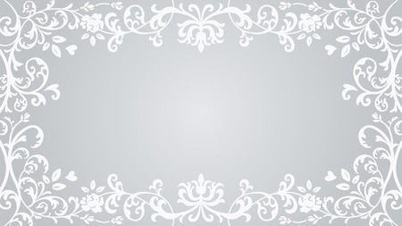 Floral plants Frame - Silver color Vectores