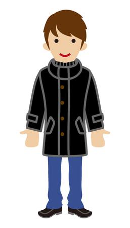 warm clothing: Male student wearing Black coat - Winter Fashion Illustration