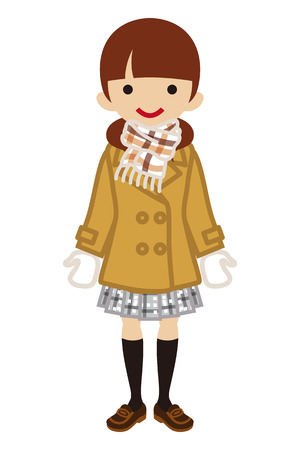 full length woman: Pigtails hair Schoolgirl - Winter Fashion