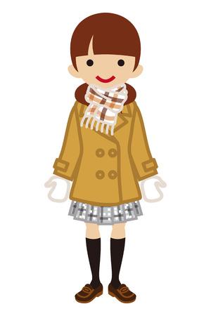 japanese ethnicity: Pigtails hair Schoolgirl - Winter Fashion