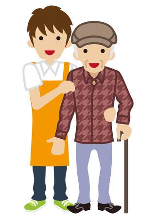 Male Caregiver Supporting Senior Men