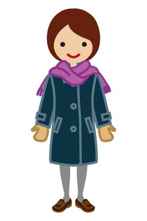 Schoolgirl wearing Overcoat - Winter Fashion Illustration