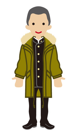 long sleeved: Shaved Head Japanese Male Student - Winter Fashion