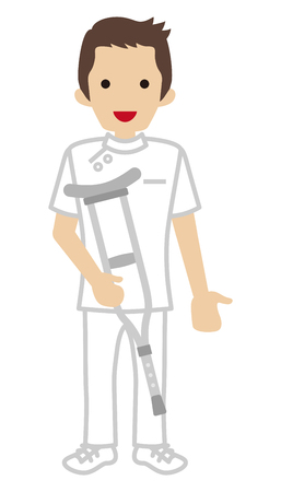 physical therapist: Male Nurse holding a Crutch Illustration