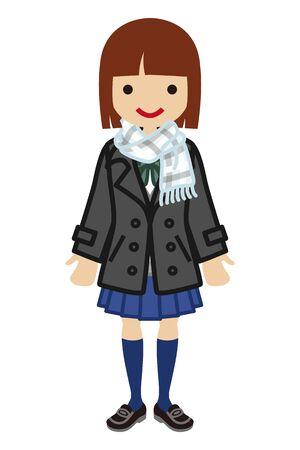 bobbed: Bobbed hair Schoolgirl - Winter Fashion Illustration