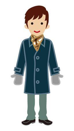 japanese ethnicity: Male Student - Winter coat