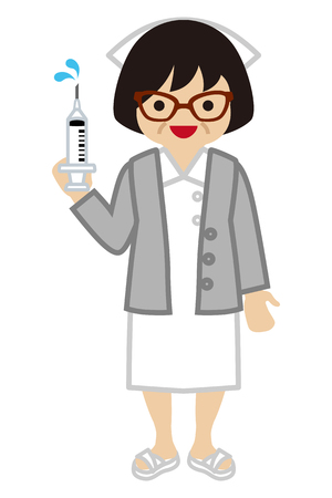 mature adult: Nurse holding Syringe - Mature Adult Illustration