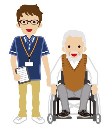 impairment: Senior Caregiver and Senior Man using Wheelchair Illustration