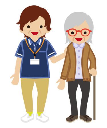 Oudere volwassenen Vrouwtjes Verzorger Ondersteunende Seniore vrouwen Stock Illustratie