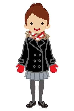 japanese ethnicity: Hair bun Schoolgirl - Winter Fashion