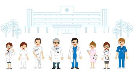 medical occupation: Medical Occupation Team - Hospital background Illustration