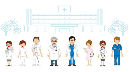 Medical Occupation Team - Hospital background Illustration