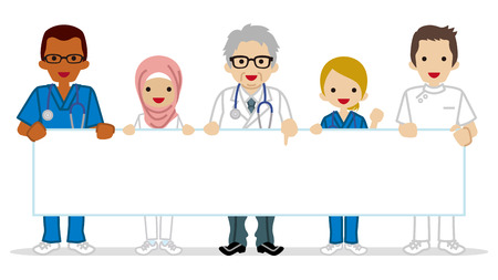 medical occupation: Medical occupation people holding a Blank placard - Multi Ethnic Group Illustration