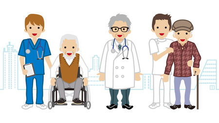 medical occupation: Male Medical Occupation team and elderly men Cityscape background