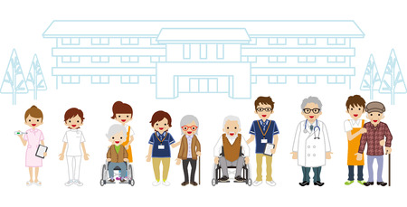 home care nurse: Senior Caregiver and Medical Occupation - Nursing Home Illustration