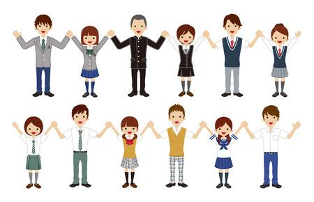 Ensemble de lycéens japonais - main dans la main, mode estivale