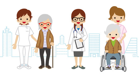 medical occupation: Female Medical Occupation team and elderly women Cityscape background