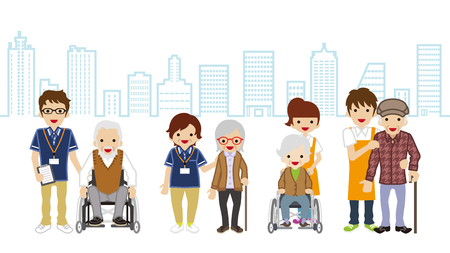 Senior Caregiver and elderly person Cityscape background 矢量图像