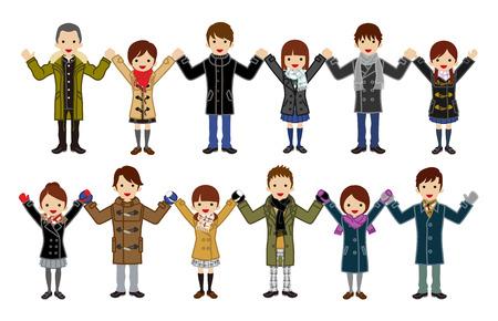 Japanese High School Students set - Holding hands ,winter fashion Illustration
