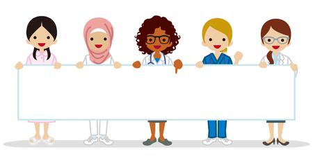 Múltiples grupos de ocupación médico femenino étnico que sostiene un cartel en blanco Vectores