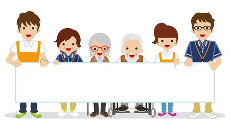 Starszy Opiekun trzyma puste tabliczki Ilustracje wektorowe