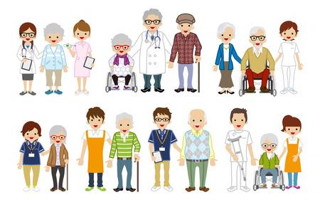 医療職と高齢介護者のセット