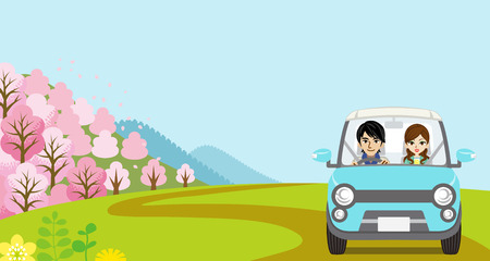 springtime: Car Driving in Spring nature, Young Couple  - Front view Illustration