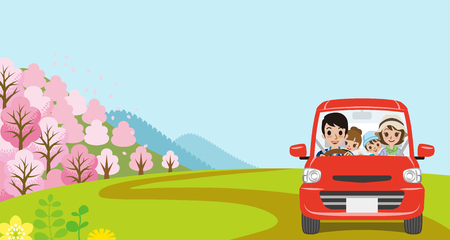 car front: Car Driving in Spring nature, Young Family  - Front view