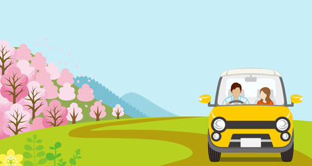 Car Driving in Spring nature, Young Couple, Anonymity-Front view Illustration