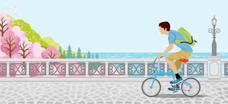cerezos en flor: Ciclismo en la naturaleza de primavera - los hombres