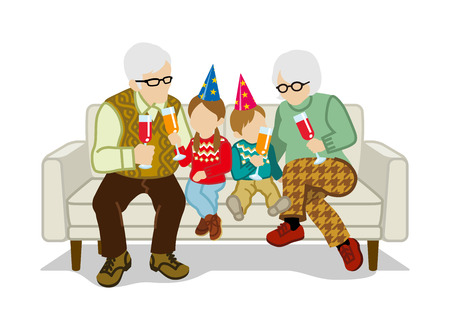 sit: Grandparents and grandchildren sit on the sofa