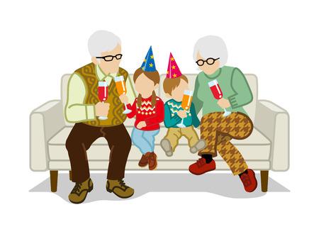 sentarse: Los abuelos y nietos se sientan en el sofá