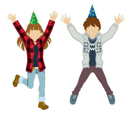event party: Jumping kids - Party hat Illustration