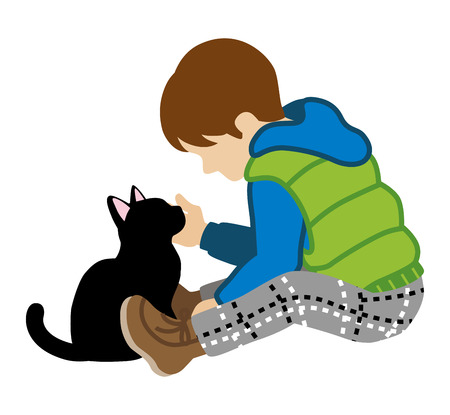 affectionate: Boy and Black Cat