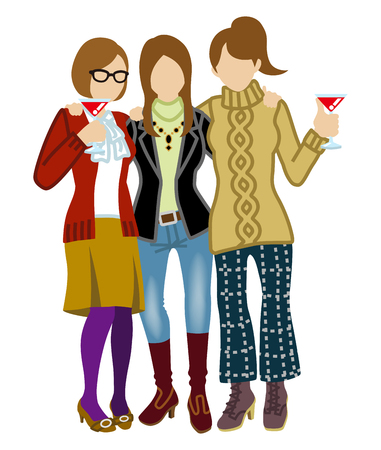 Three women toasting with cooktail