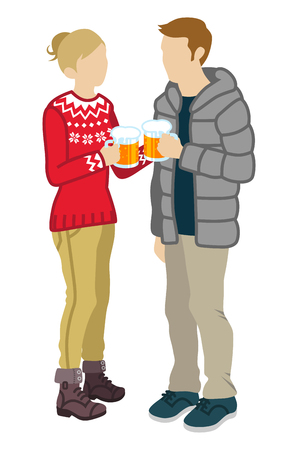 Couple toasting with Beer