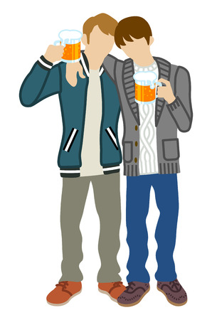 outstretched: Two men Toasting with Beer