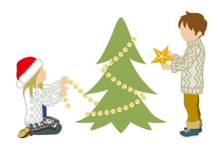 Two Children Decorating Christmas tree
